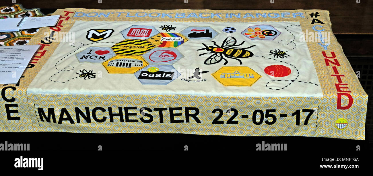 Manchester Arena Bombing 22/05/2017 memorial fabric from Manchester Cathedral - Stock Image