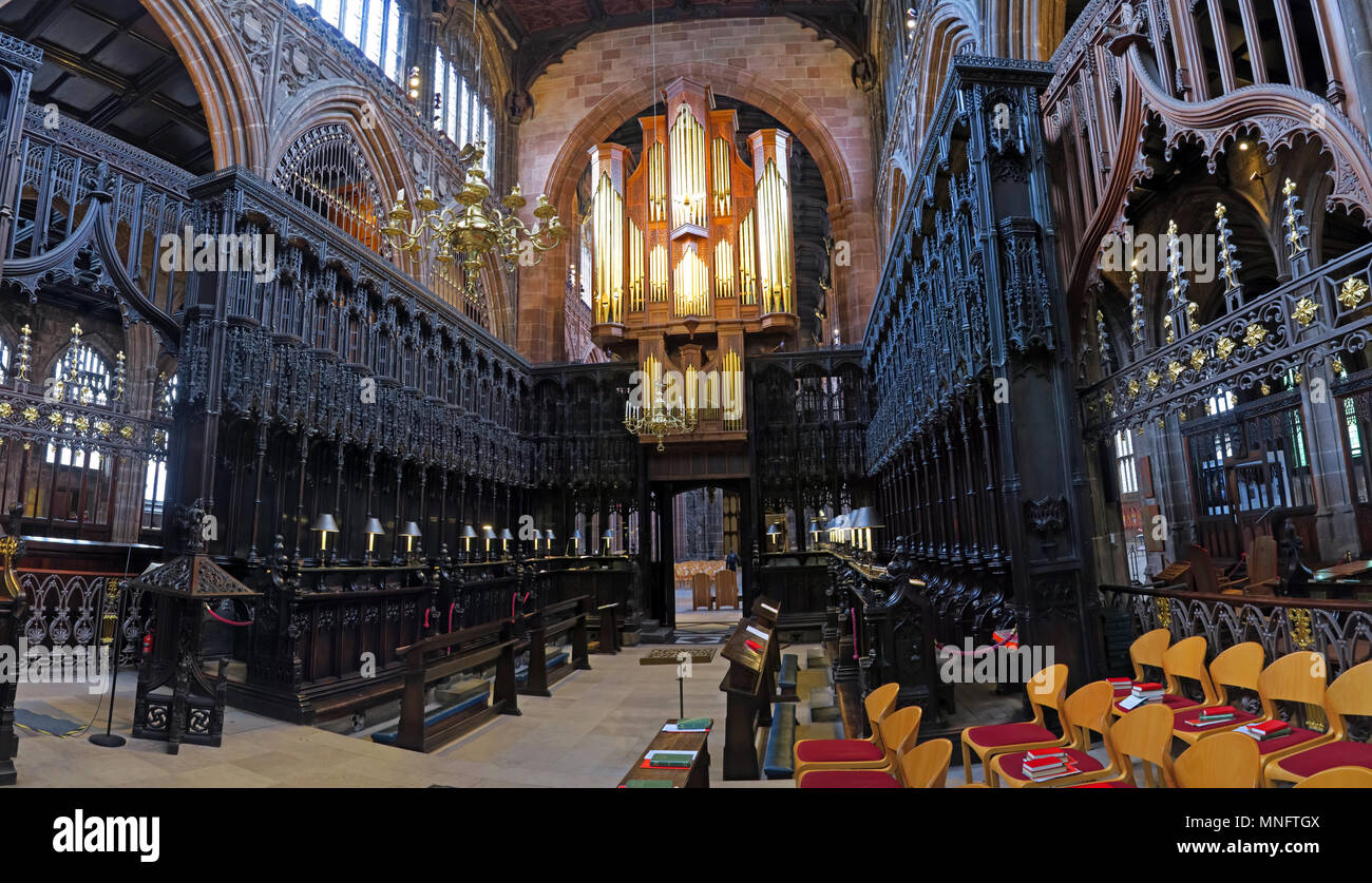 Manchester Cathedral Choir Panorama, England, UK - Stock Image
