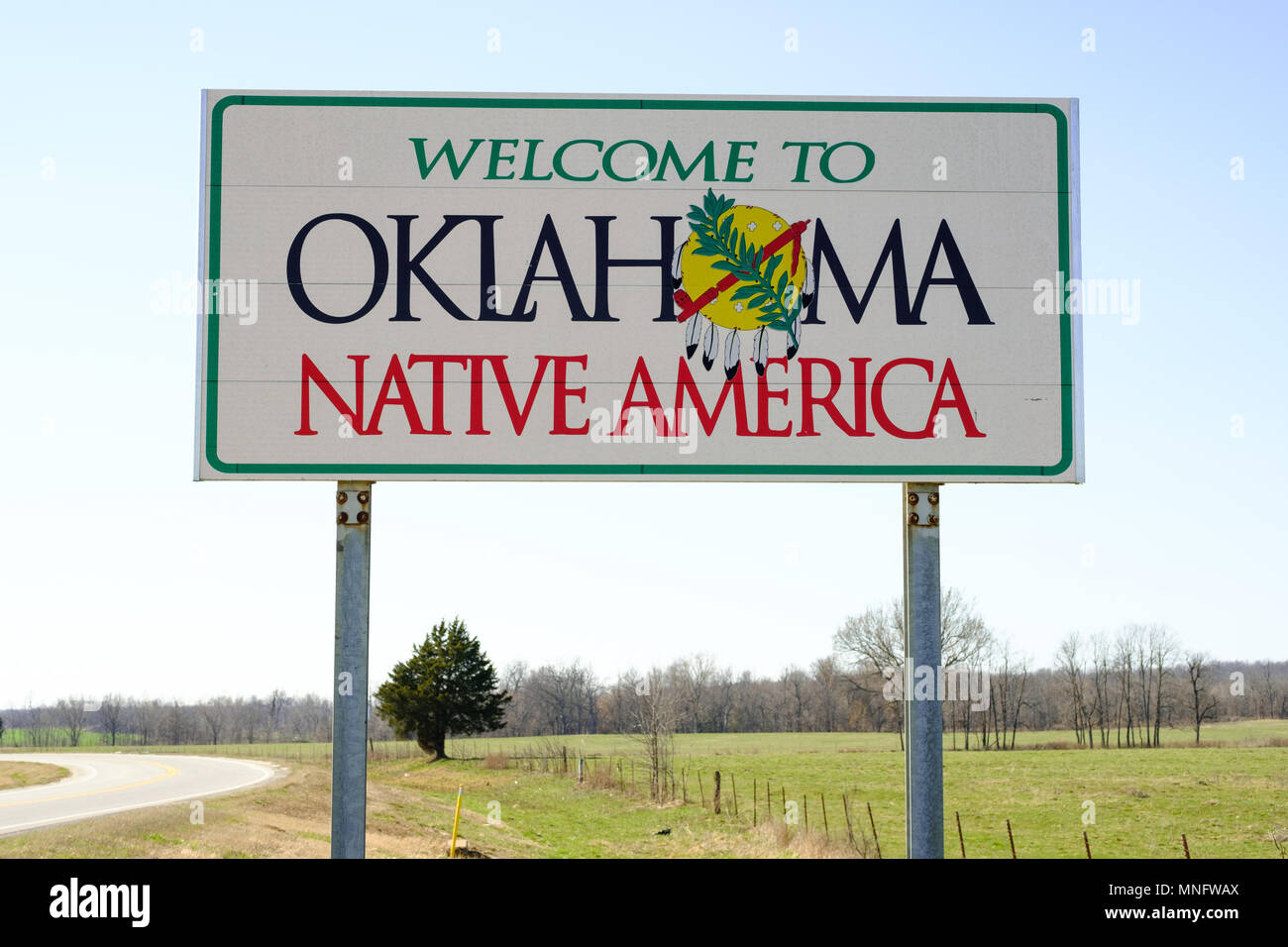 Welcome to Oklahoma Sign, Native America - Stock Image