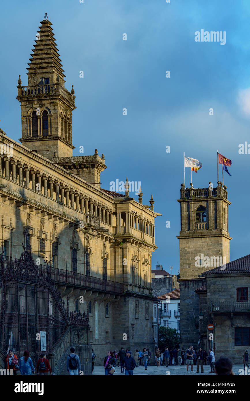 Cathedral and tower of the Fonseca University on the Plaza do Obradoiro, UNESCO World Heritage Site, Santiago de Compostela, Galicia, Spain Europe, - Stock Image