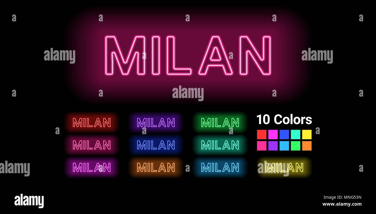 Neon name of Milan city. Vector illustration of Milan inscription consisting of neon outlines, with backlight on the dark background. Set of different - Stock Vector