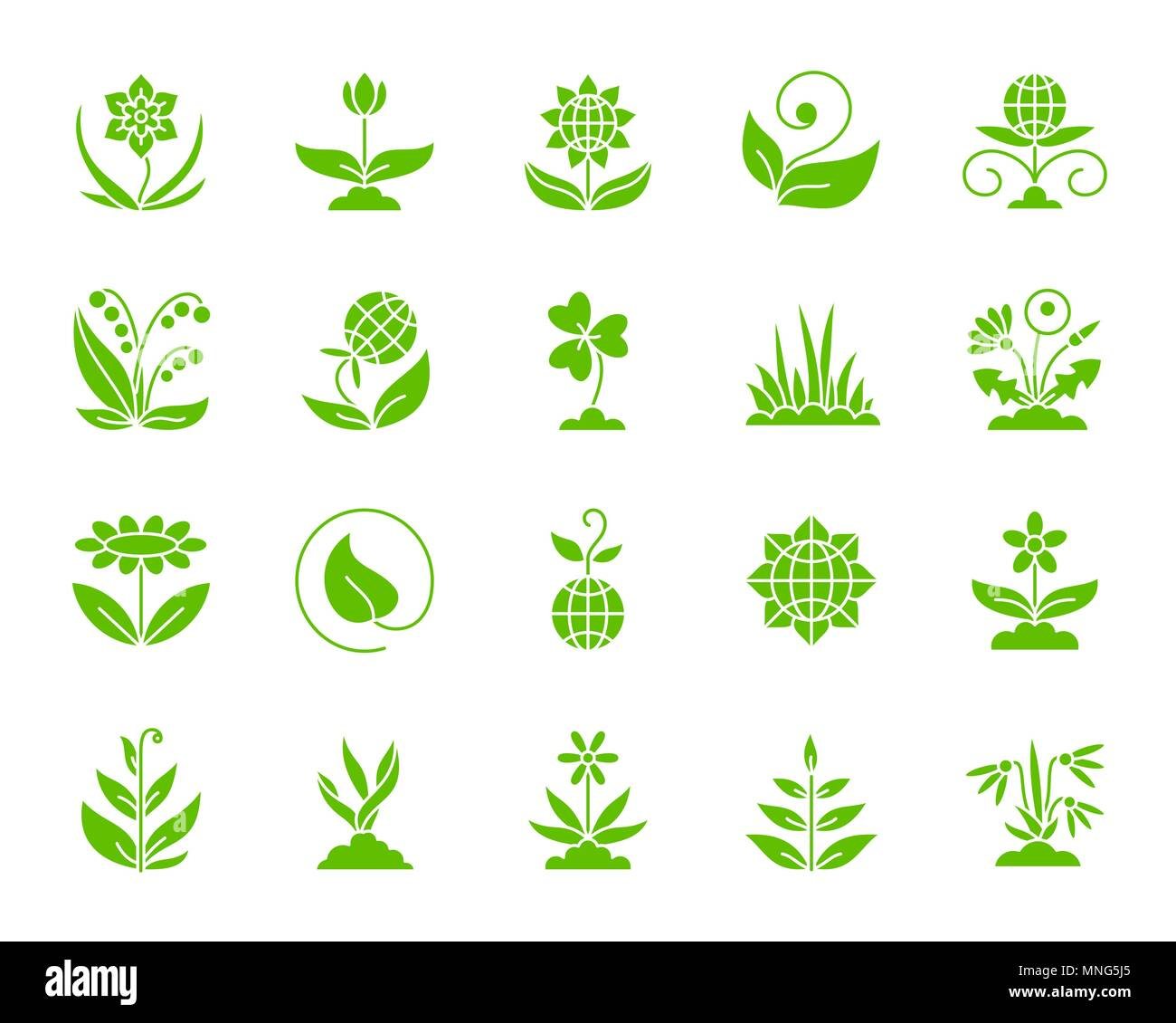 Garden silhouette icons set. Isolated web sign kit of flower. Plant monochrome pictogram collection includes sprout, growth, seedling. Simple garden s Stock Vector