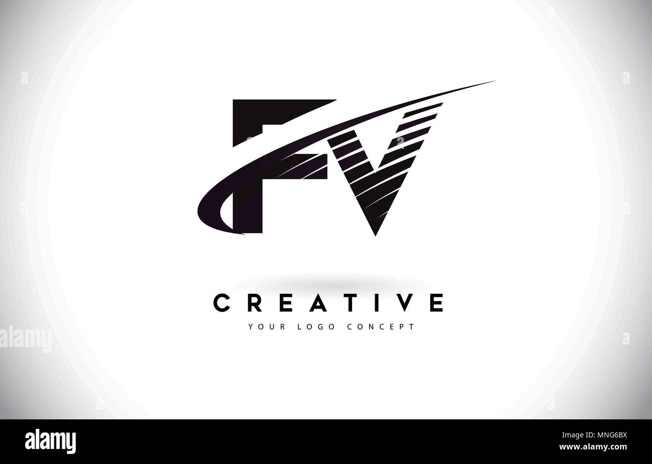 fv f v letter logo design with swoosh and black lines modern