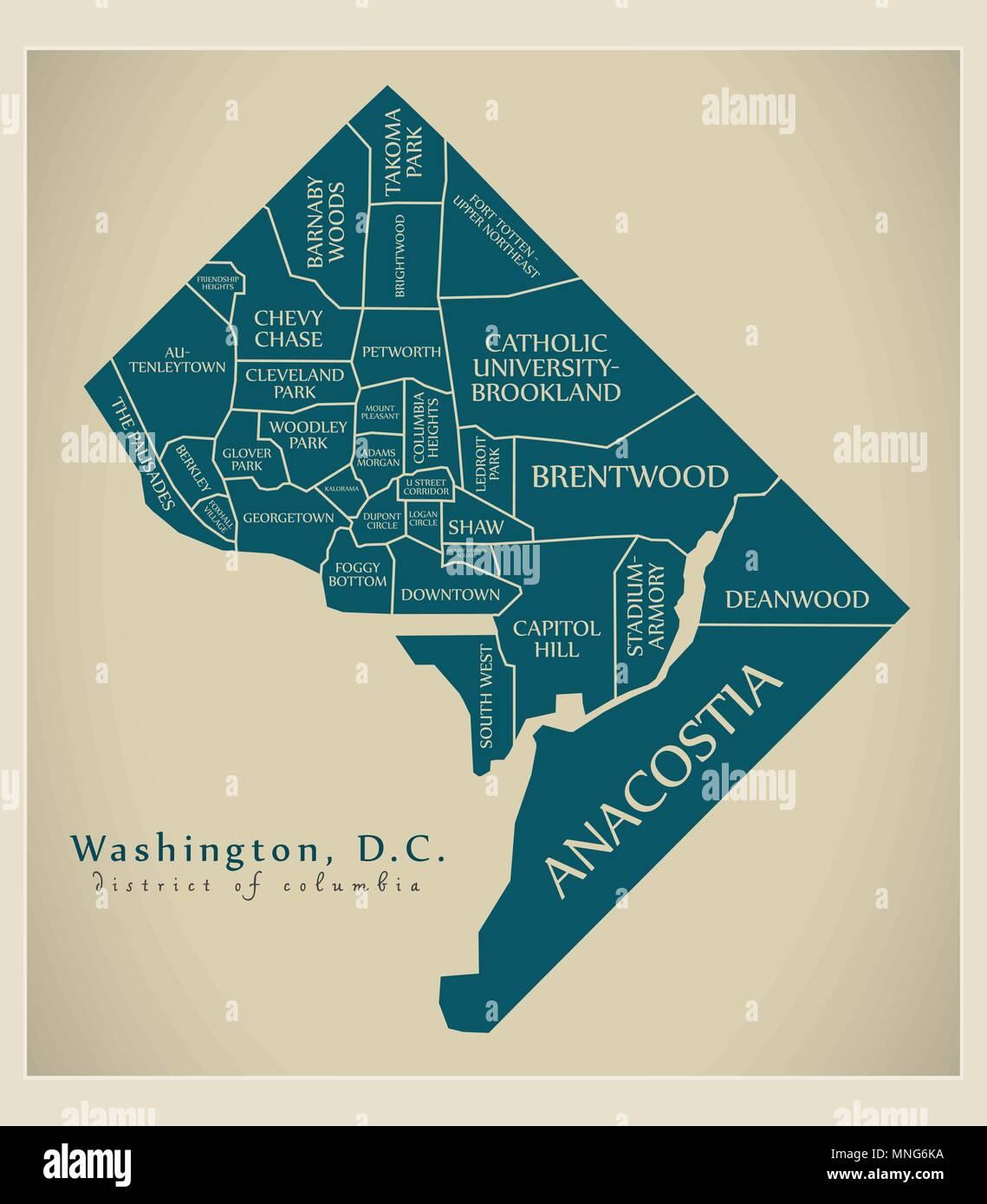 Modern City Map - Washington DC city of the USA with neighborhoods on