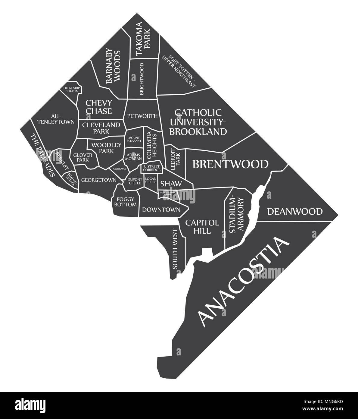 Washington DC city map USA labelled black illustration Stock Vector ...