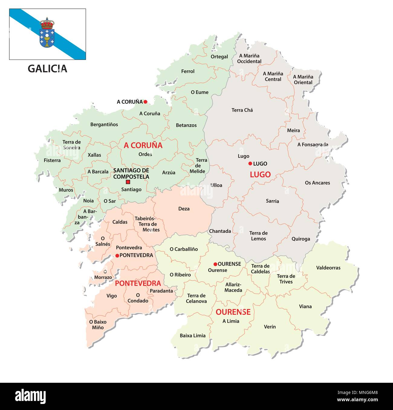 Map Of Spain Political.Galicia Administrative And Political Vector Map With Flag Spain