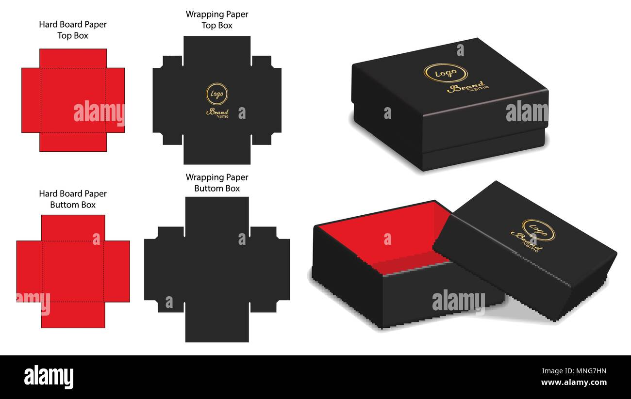 rigid box packaging die cut template 3d mockup stock vector art