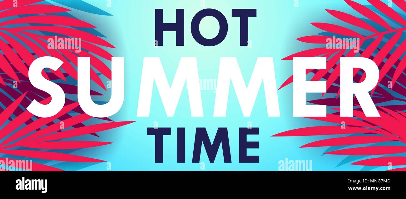 Hot Summer Time. Creative banner with exotic palm leaves and lettering. Vector template - Stock Vector