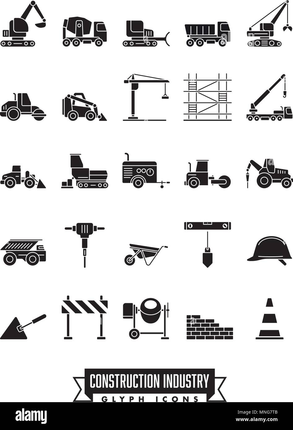 Industrial construction machinery and tools solid black icon collection - Stock Vector