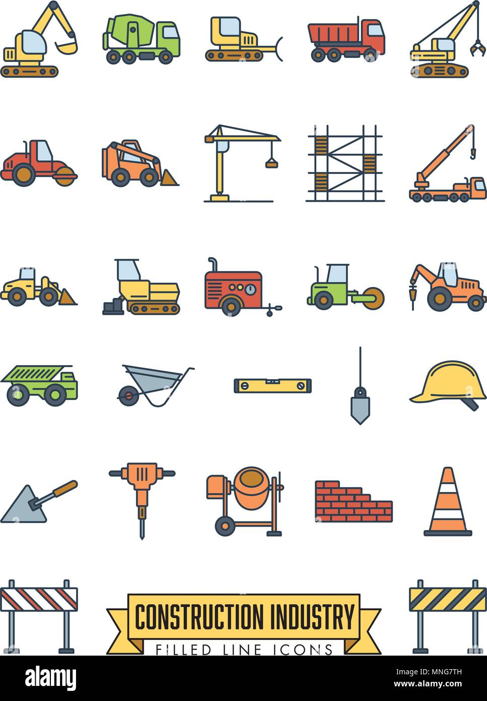 Industrial construction machinery and tools filled line icon collection - Stock Vector