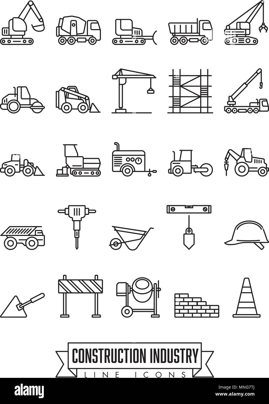 Industrial construction machinery and tools line icon collection Stock Vector