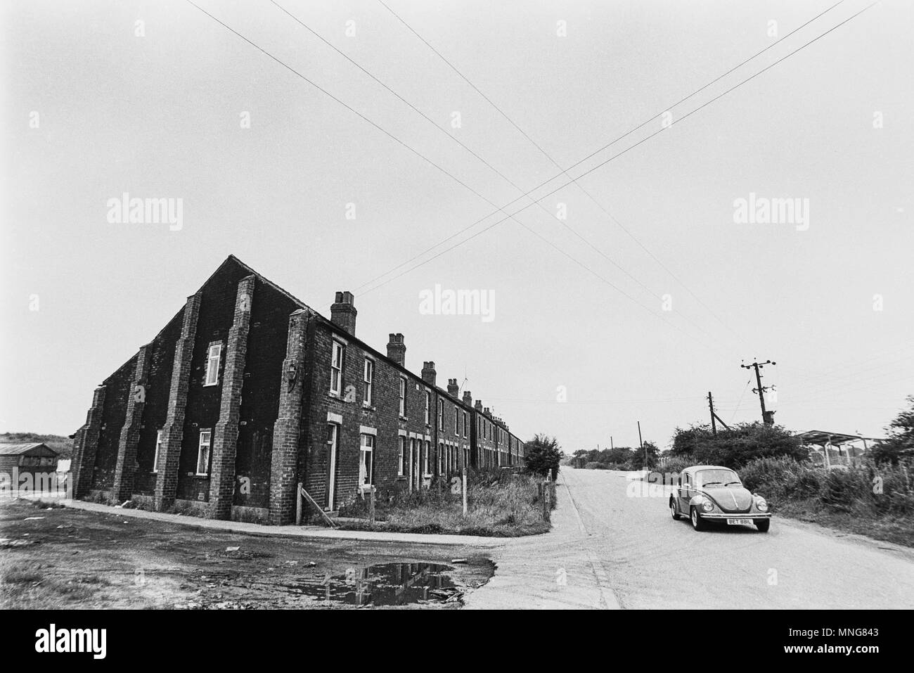 South Yorkshire, 1972 - Magila Cottages, a condemned row of terraced pit houses near Dinnington Colliery, before they were demolished for ind. estate - Stock Image