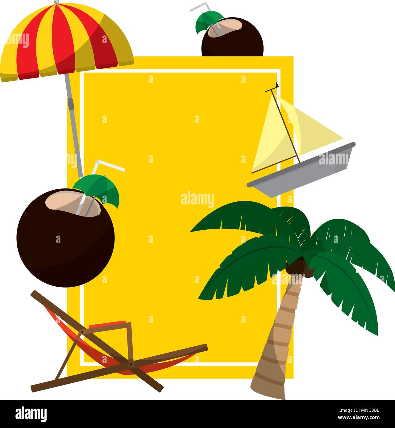emblem with island things activities style - Stock Image