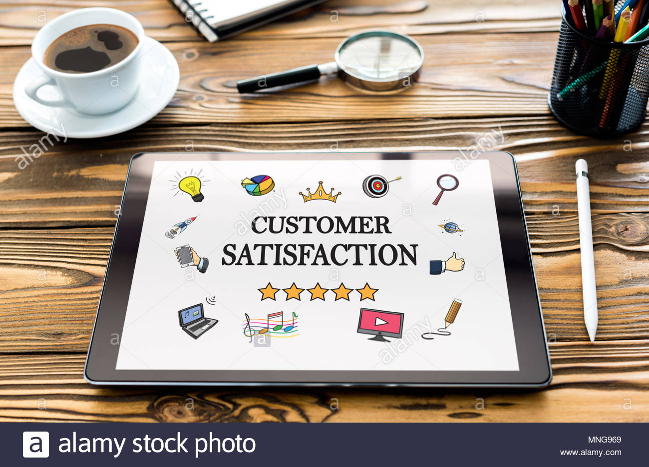Customer Satisfaction Concept On Digital Tablet Screen - Stock Image