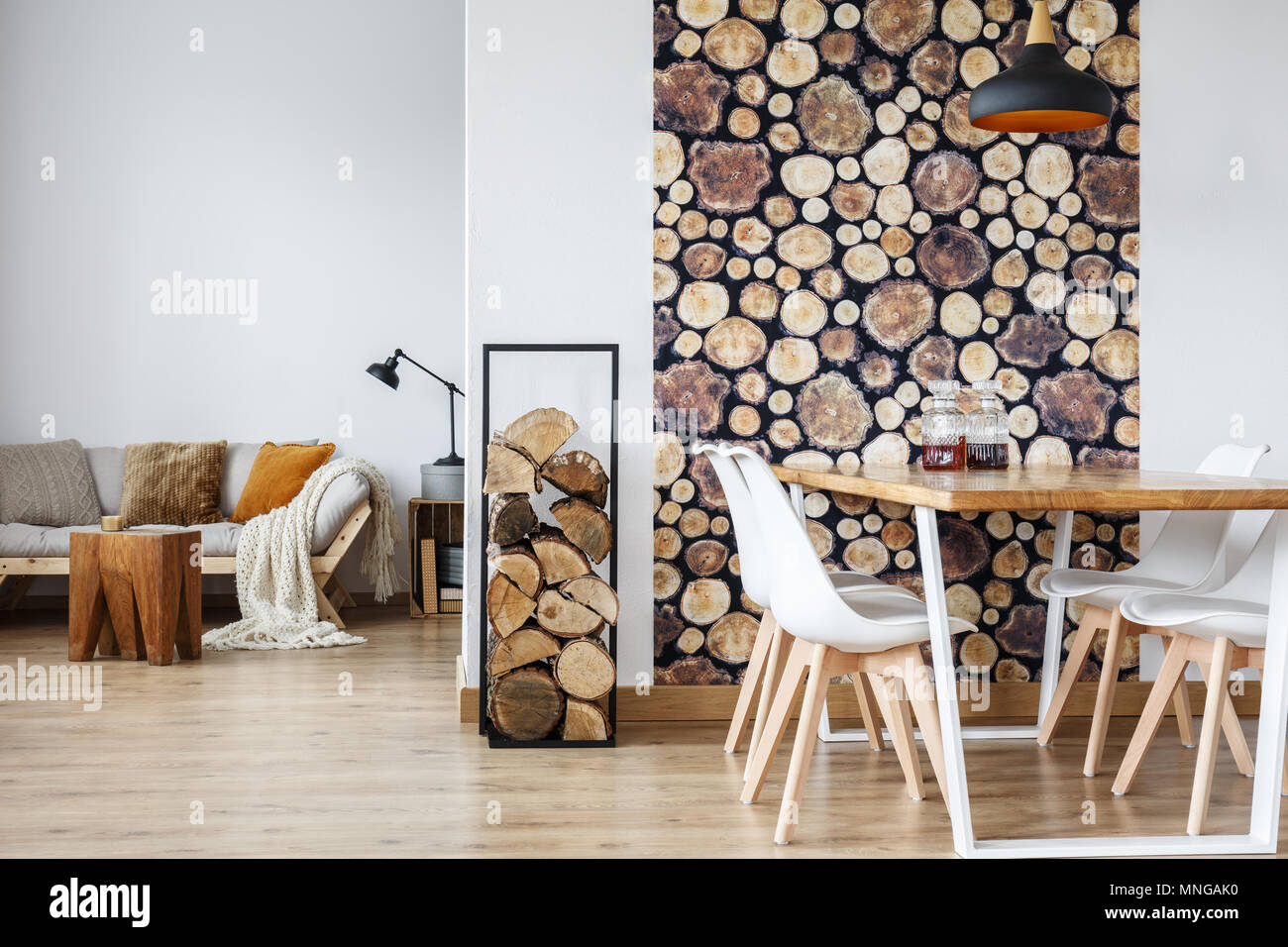Open Dining Room Interior With Firewood Communal Table And Wooden