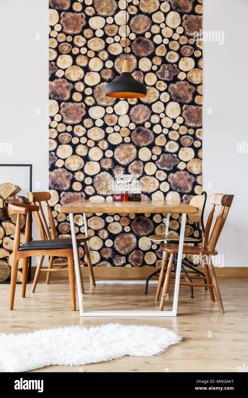 Rustic Design And Wooden Log Wall Decoration In Stylish Modern
