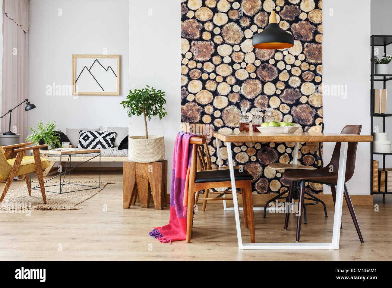 Scandinavian open floor plan apartment with winter interior design and natural wooden decor - Stock Image