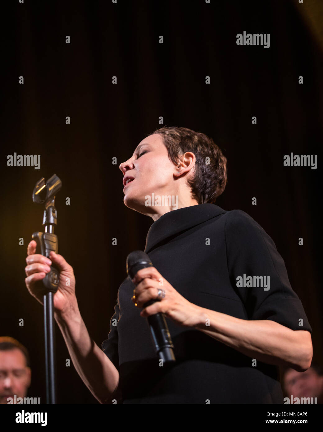 Cracow, Poland - April 26, 2018: The performance of the American jazz vocalist Stacey Kent with her accompanying quartet on the Kijow.Centre stage in  - Stock Image