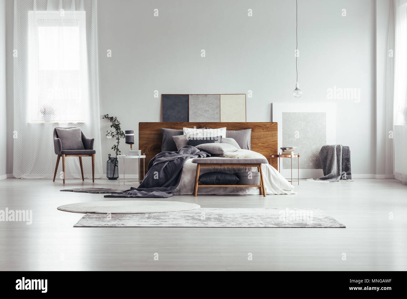 Marvelous Wooden Bench And Grey Chair Near King Size Bed Against White Spiritservingveterans Wood Chair Design Ideas Spiritservingveteransorg