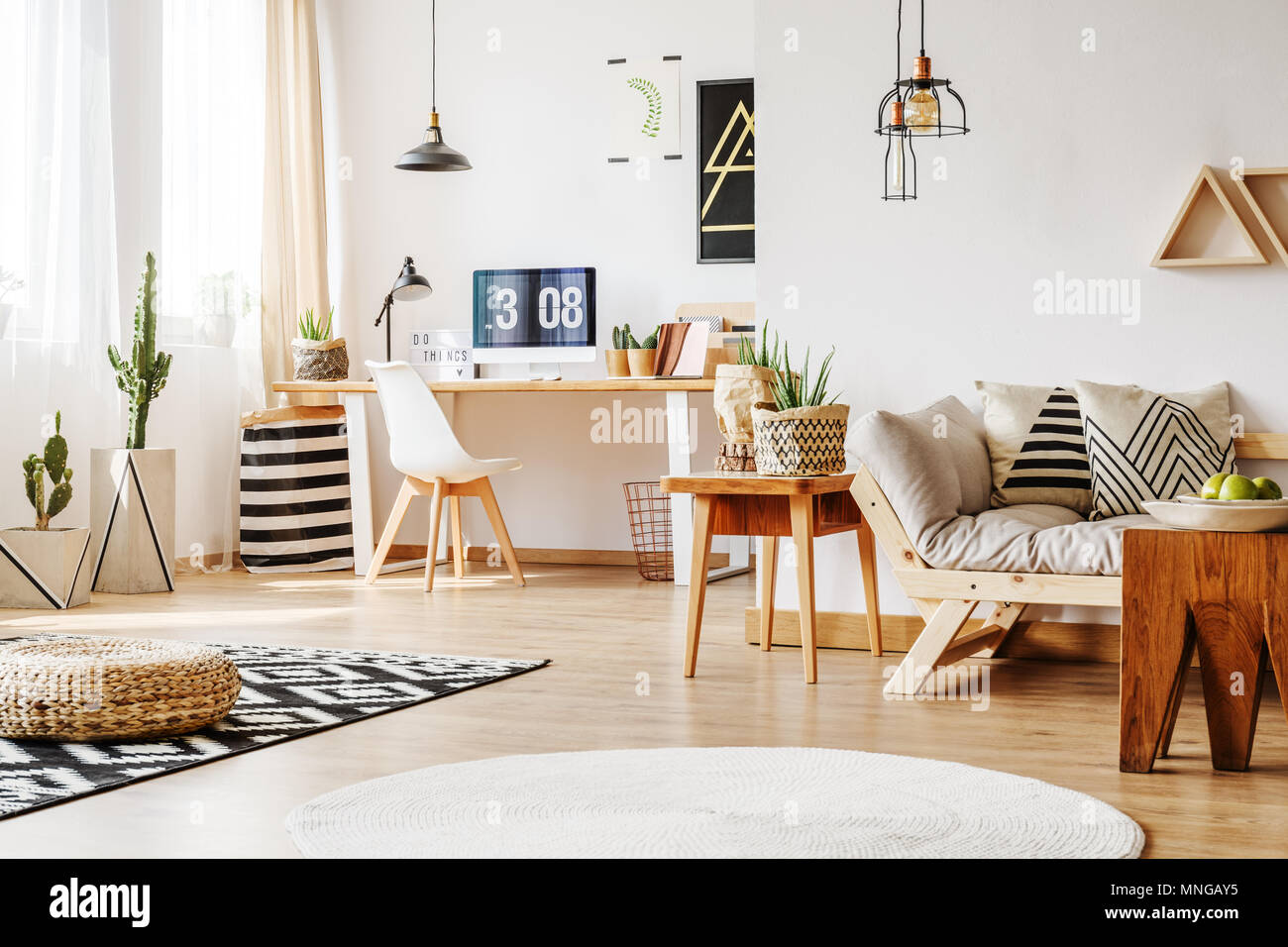 Interior design idea for home workspace with white wall, wooden ...