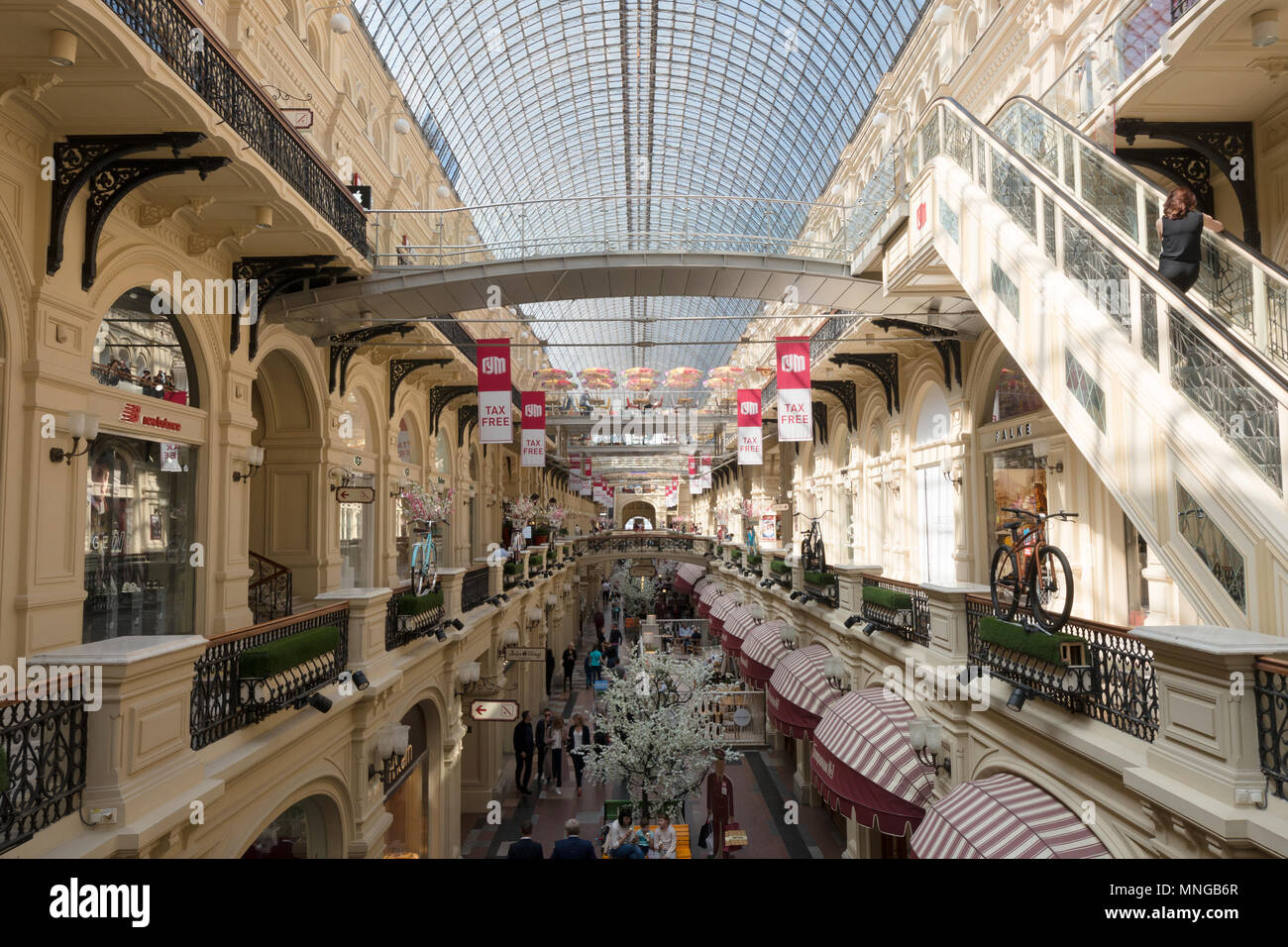 Interior of the GUM Shopping Centre on Red Square, Moscow, Russia, Europe - Stock Image