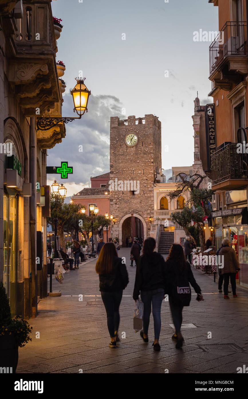 Corso Umberto I and Clock Tower in Taormina, Sicily - Stock Image