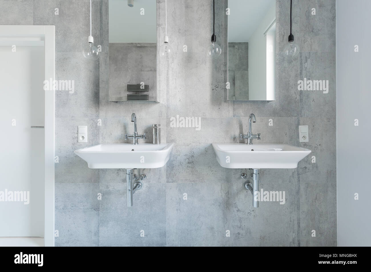 Two Expensive Washbasins In Modern And Light Bathroom