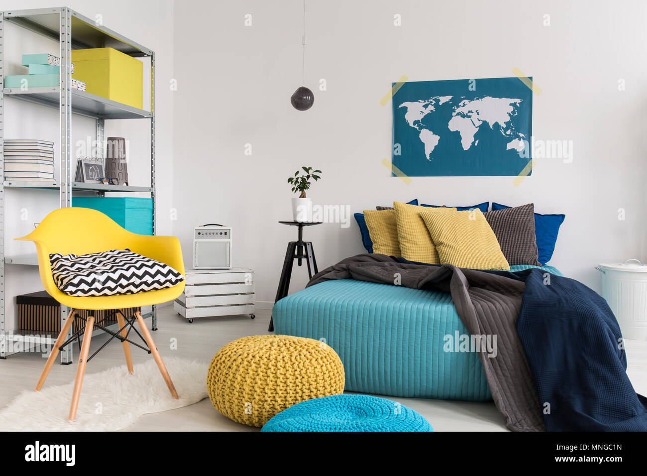 Shot Of A Modern Blue And Yellow Bedroom Stock Photo Alamy