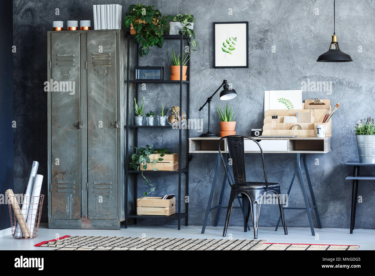 Industrial office room with plants illustration and vintage ...