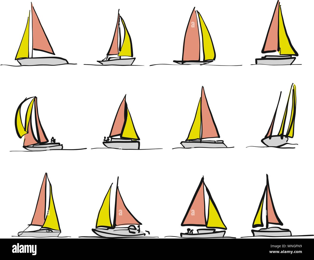 Colored sailboat drawings, bicolor vector sketches - Stock Vector