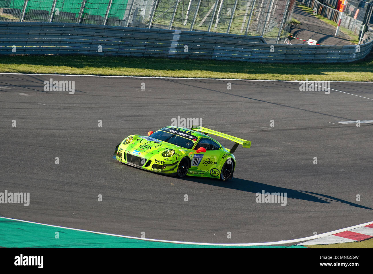 Porsche 911 GT3 R, Nuerburgring, 24h Nuerburgring, motorsports, curves, curbes, racing, top gear, high speed, fast and furious, green hell, top gear,  - Stock Image