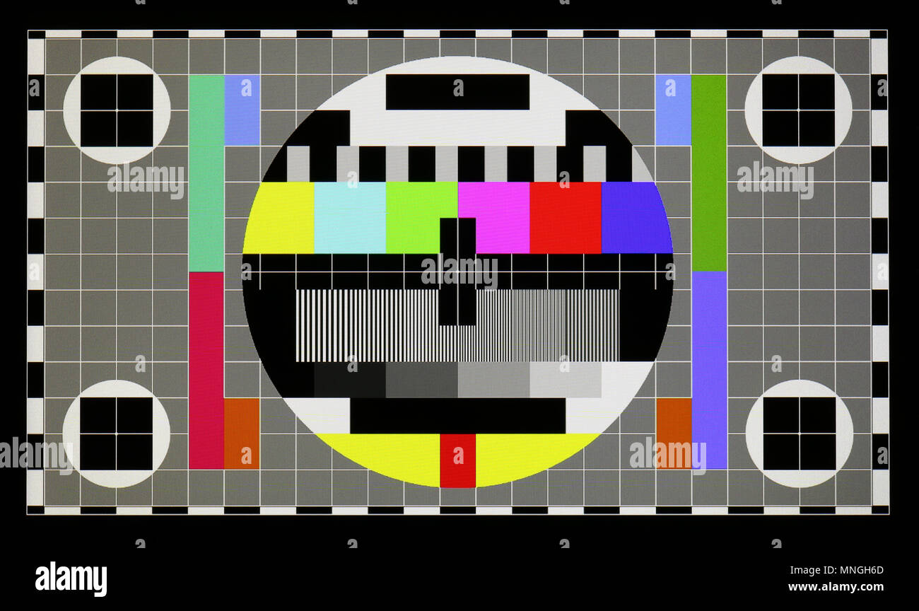 Photo shot of standard industrial color television test pattern on