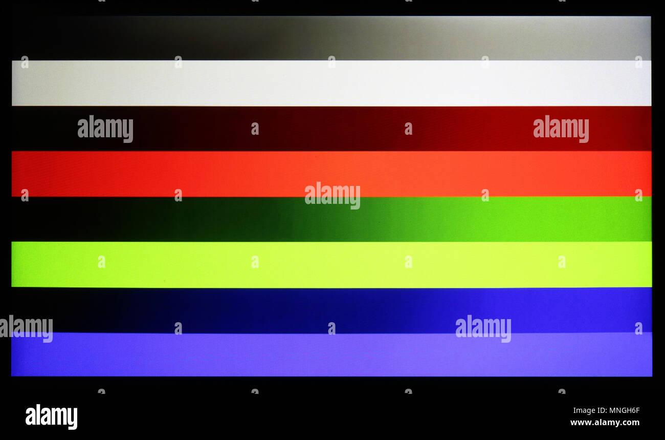 Photo shot of standard industrial color horizontal bars test pattern