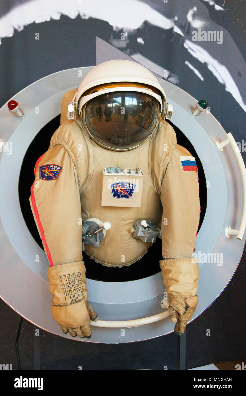A display model of a Russian astronaut spacesuit at the trade exhibition accompanying the 64th IAC in Beijing, China. - Stock Image