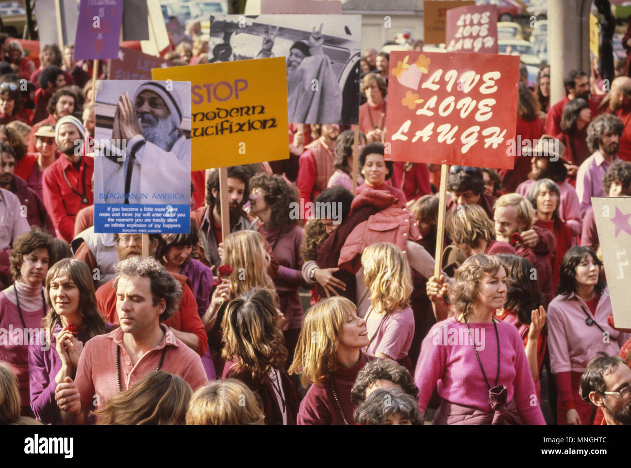 PORTLAND, OREGON, USA - Rajneeshees, followers of religious cult leader Bhagwan Shree Rajneesh, protest INS policy. 1982 - Stock Image