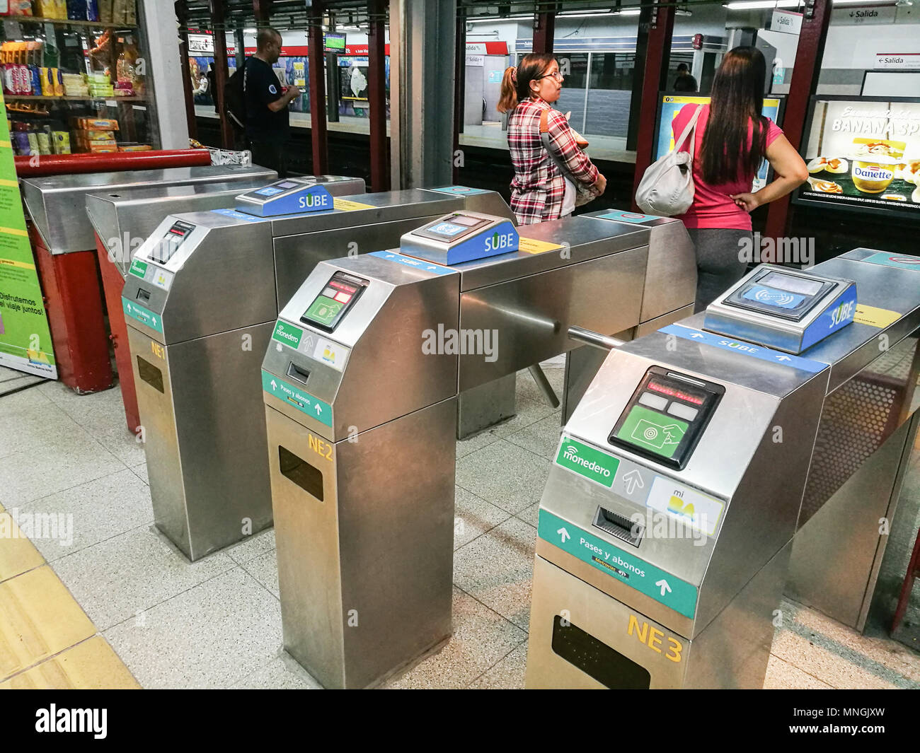 Buenos Aires, Argentina - March 19th: Metro turnstile ticket validate machine at platform of Federico Lacroze Line B station. - Stock Image