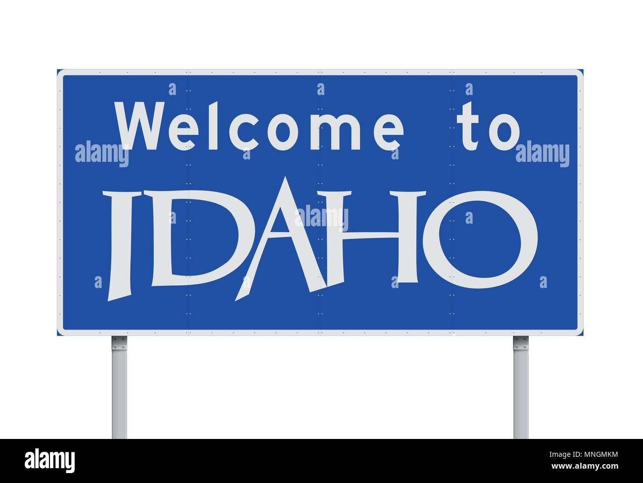 Vector illustration of the Welcome to Idaho blue road sign - Stock Image