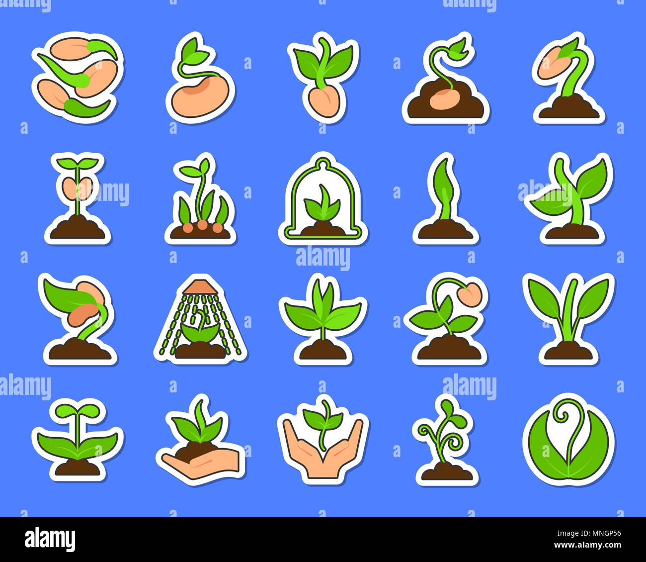 Sprout sticker icons set. Web flat sign kit of seeds. Plant pictogram collection includes tree, leaves, growing. Simple green sprout symbol. Colorful  - Stock Vector