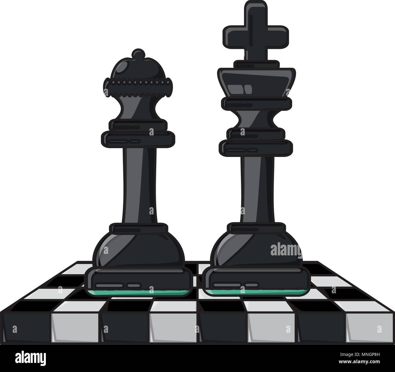 Silhouette King Queen Chess Pieces Stock Photos