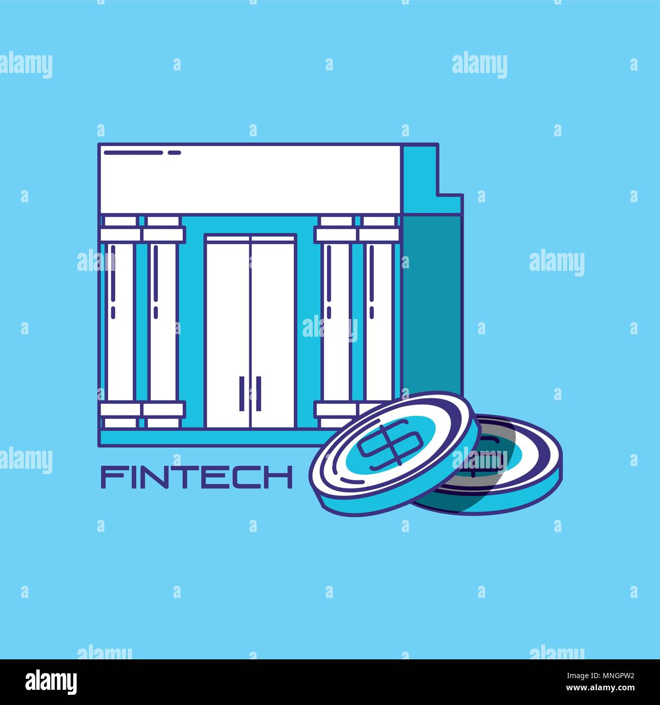 financial technology concept with bank building and coins over blue background, vector illustration - Stock Image