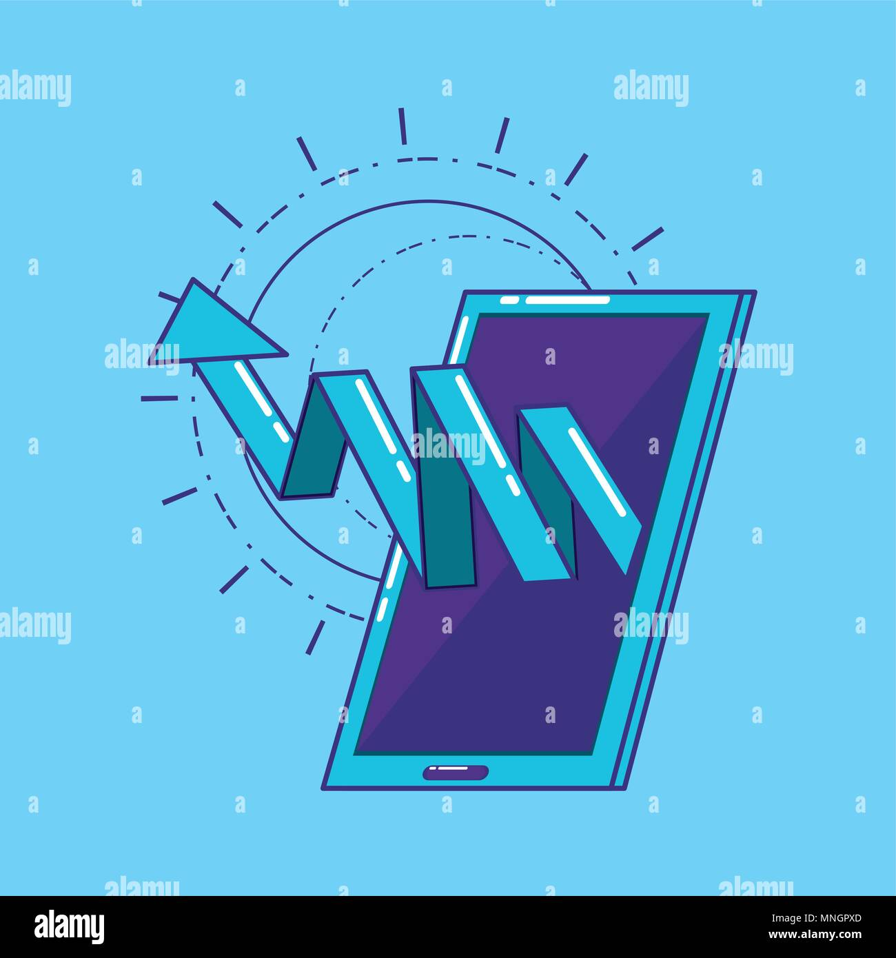 smartphone with financial arrow over blue background, colorful design. vector illustration - Stock Image