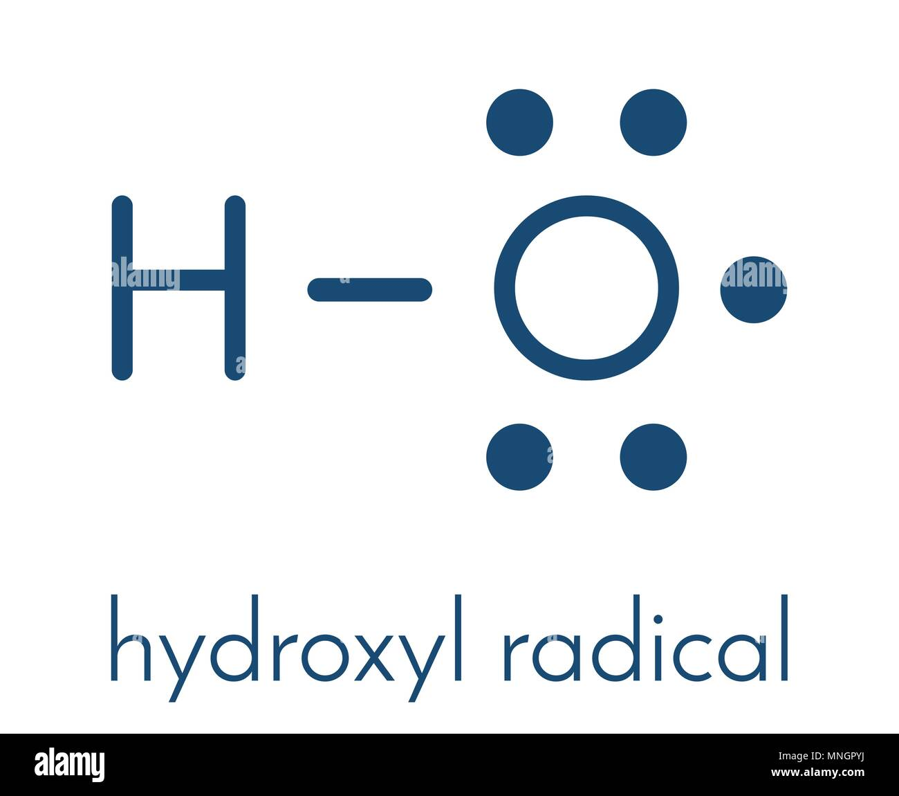 Hydroxyl radical. Used by macrophages (immune cells) to destroy pathogens. Skeletal formula. - Stock Image