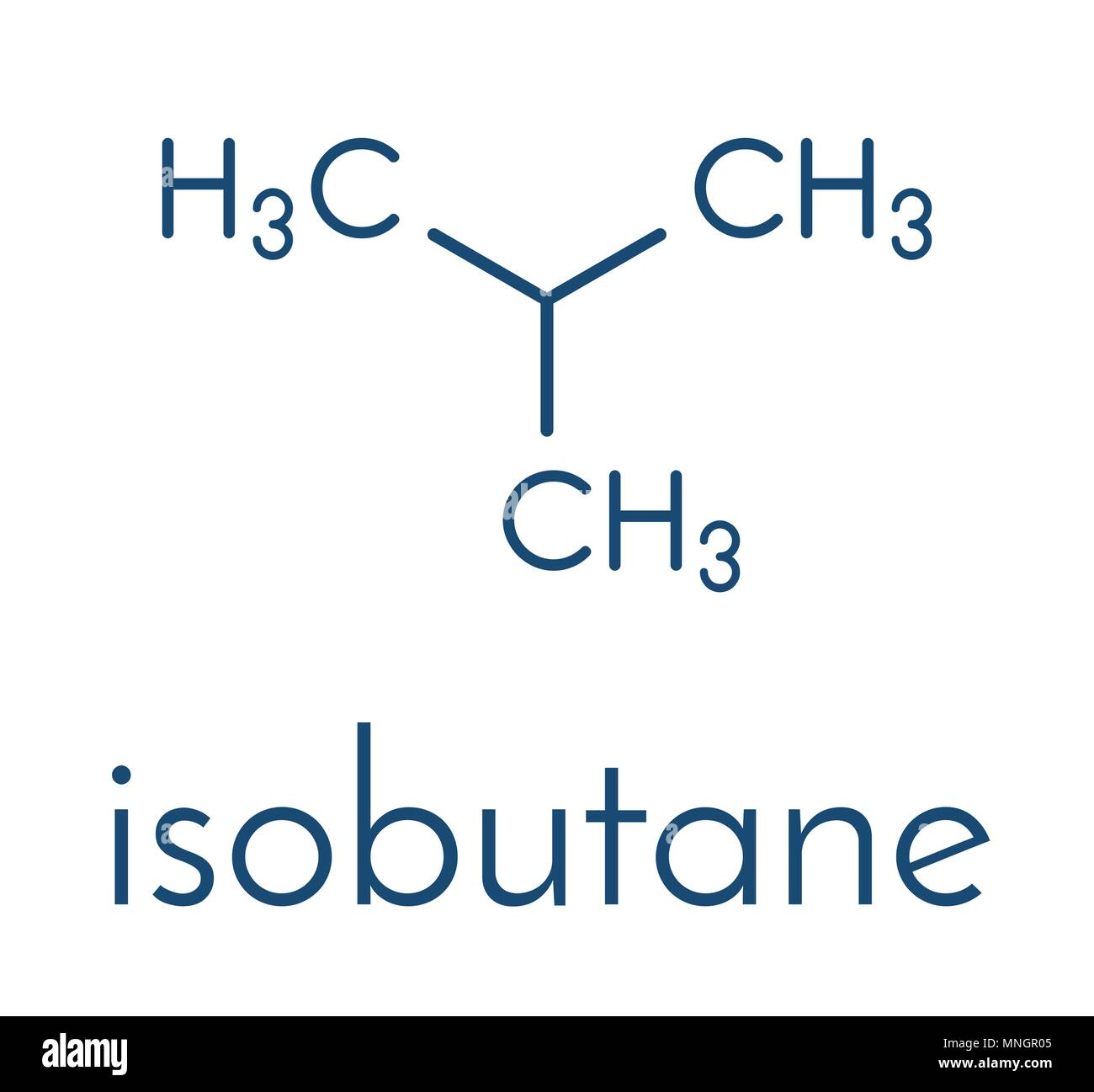 Isobutane (i-butane, methylpropane) alkane molecule. Used as refrigerant (in freezers and refrigerators) and as propellant (in aerosol sprays). Skelet - Stock Image