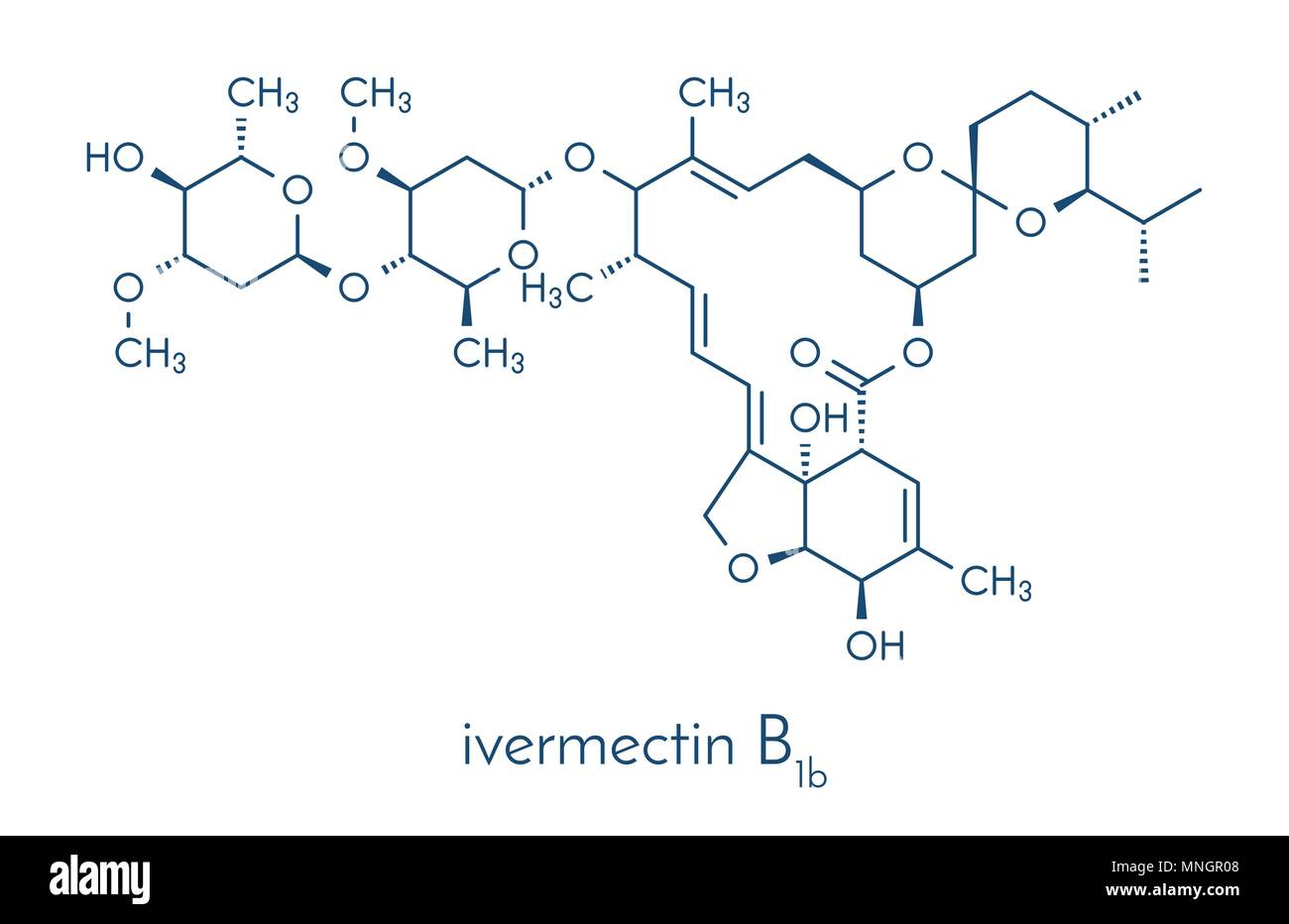 Ivermectin antiparasitic drug molecule. Used in treatment of river blindness, scabies, head lice, etc. Skeletal formula. Stock Vector