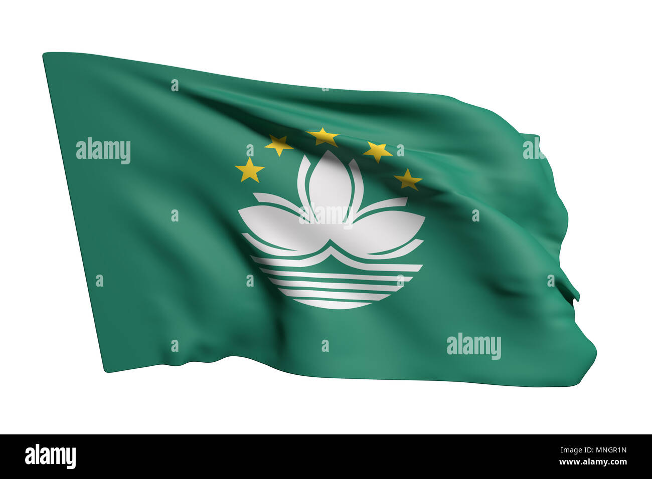 3d rendering of Macau flag waving on white background - Stock Image