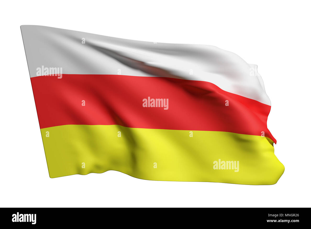 3d rendering of South Ossetia flag waving on white background - Stock Image