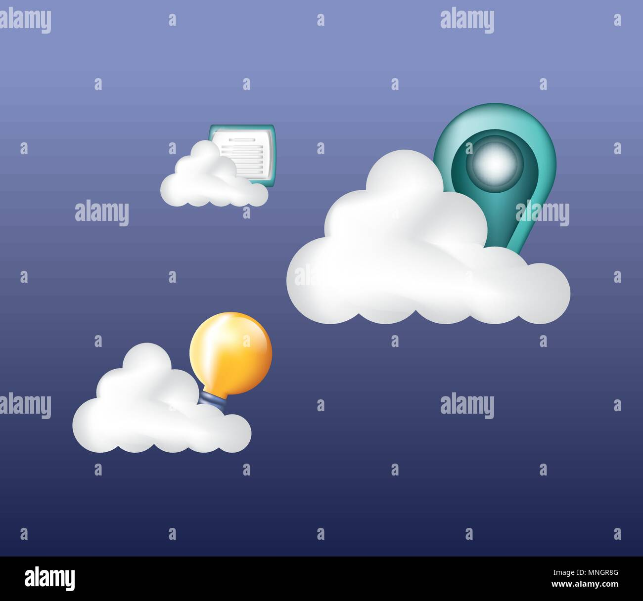 cloud storage with location pin and bulb over purple background, colorful design. vector illustration - Stock Image