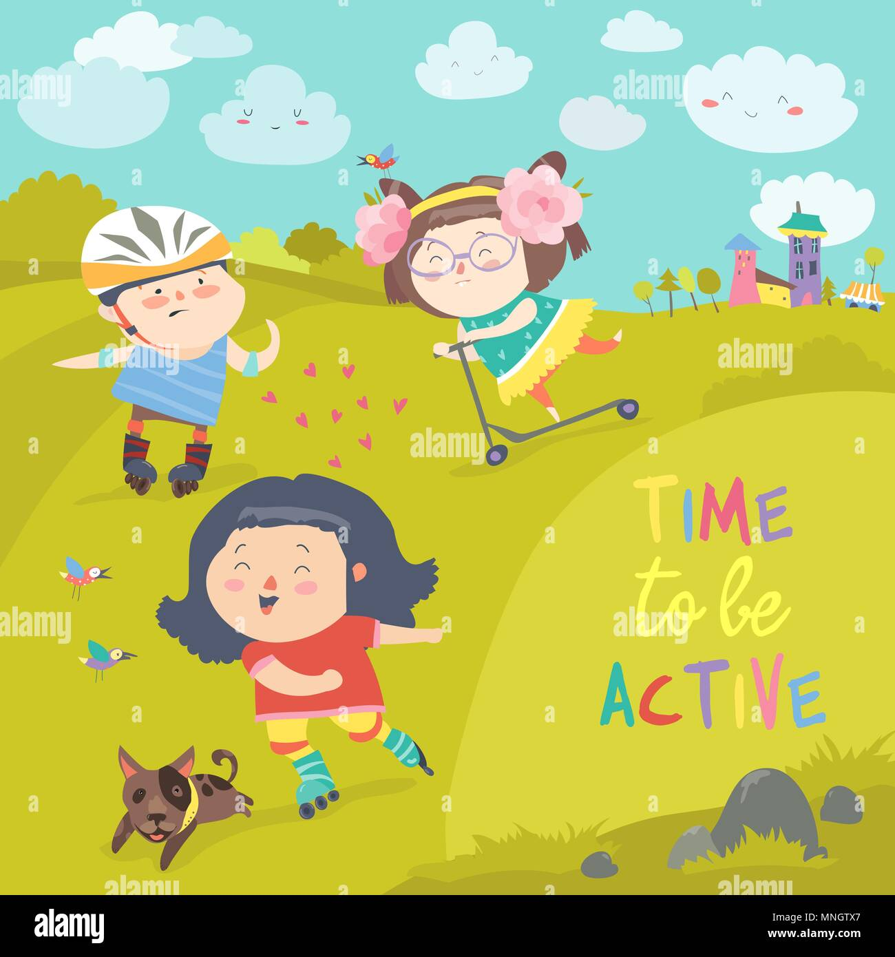 Cheerful active boys and girl having fun while riding kick scooter and roller skates - Stock Vector