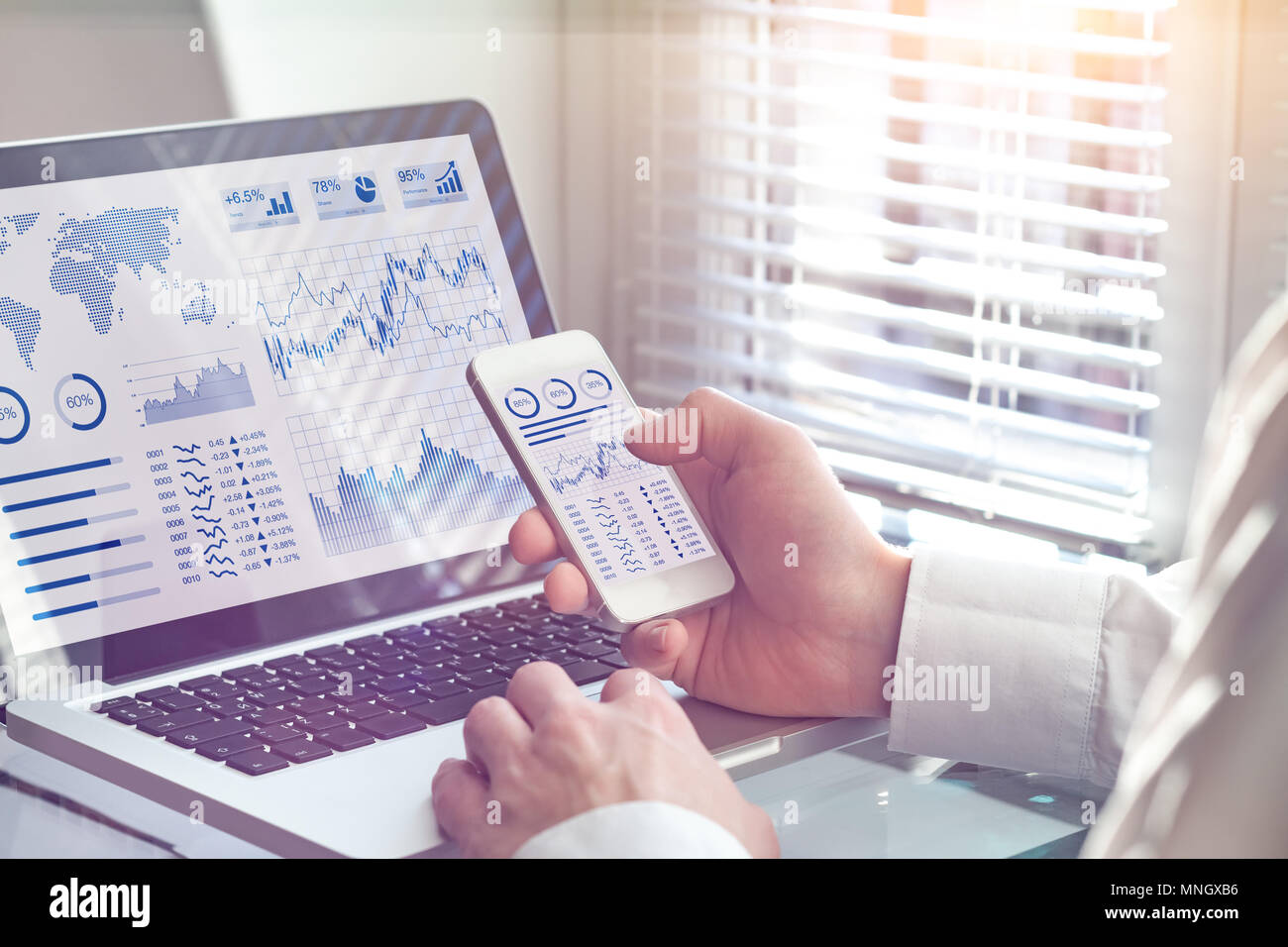 Business analytics dashboard technology on computer and smartphone screen with key performance indicator (KPI) about financial operations statistics a - Stock Image