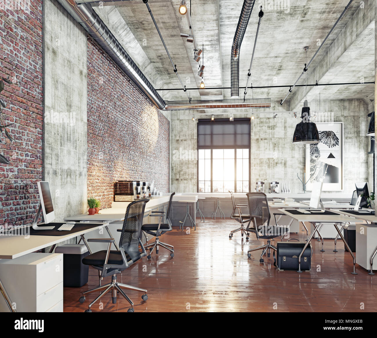 Modern Coworking Loft Office 3d Rendering Concept Stock Photo